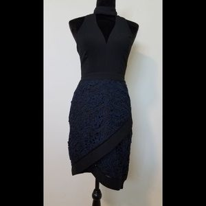 Black and navy blue party dress